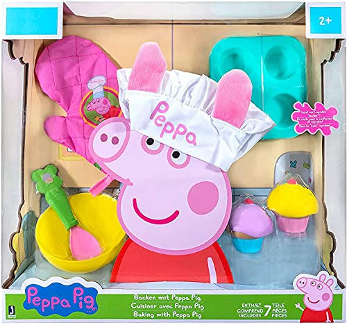 Peppa Pig Baking with Peppa Roleplay Set, 7 Pieces - Includes Chef's Hat, Oven Mitt, Cupcake/Muffin Tray, Cupcakes, Spoon & Bowl - Cook with Peppa! - Toy Gift for Kids - Ages 2+