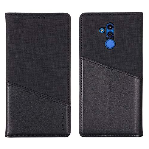 Capa para Huawei Mate 20 Lite, tecido macio YINCANG + couro PU TPU silicone interno magnético Folio Flip [bloqueio RFID] carteira com compartimentos para cartão suporte capa protetora para Huawei Mate 20 Lite 6,3 polegadas preta