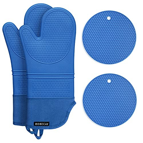 Rorecay Silicone Oven Mitts and Pot Holders Sets: Heat Resistant Hot Pads and Oven Mits, Non Slip Mittens and Potholders for Kitchens, Quilted Liner, Blue, Extra Long Oven Gloves for Cooking Baking