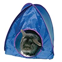 a high quality, pop-up polyester tent with removable mattress assorted colours supplied with Velcro tabs to connect to our rabbit tunnel 36cm x 36cm x 36cm ideal for indoor or outdoor use