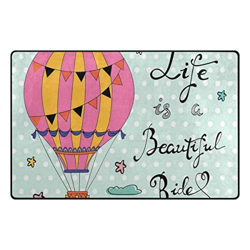 HANILUC La Vida es una Hermosa Frase inspiradora de Paseo con Globo aerostático y Lunares, Alfombra Antideslizante Alfombra Absorbente Piso Interior Dormitorio Sala de Estar Estudio