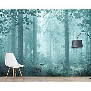 WOshiDD Mural Wallpaper,Fantasy Jungle Shrub Forest Deer Animal Customize 4D Wallpaper Fresco Hd Print Wall Decor Art Poster Picture Large Silk Murals for Children's Room Kindergarten