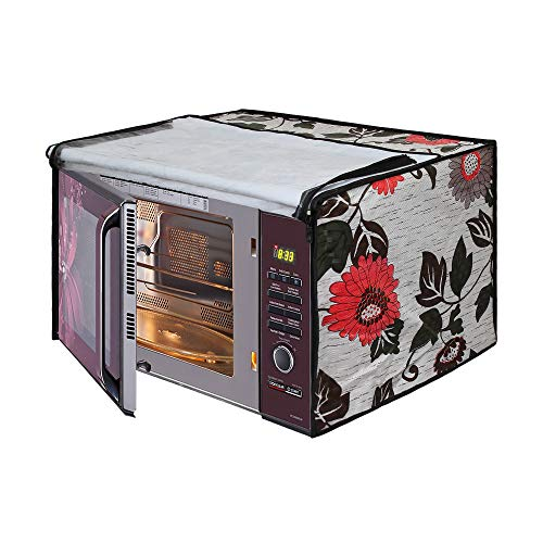 Glassiano Floral and Multi Printed Microwave Oven Cover for IFB 25 Litre Convection Microwave Oven (25BC4, Black +Floral Design)