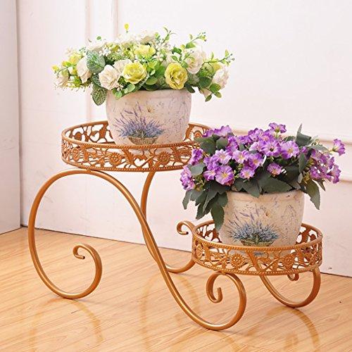 balcon voyantes Racks de fleurs de fer à plusieurs étages pots de fleurs balcon salon sol fleur étagère intérieur et extérieur vert fleurs fleur de coq Plantes d'extérieur Présentoir ( Couleur : Or , taille : 47cm )