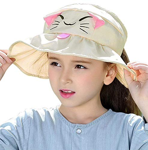 JGJ Kids Girls Sun Hat UPF 50+ Summer Beach Visor Hat Wide Brim Adjustable Reversible Cap (Cat-Beige)