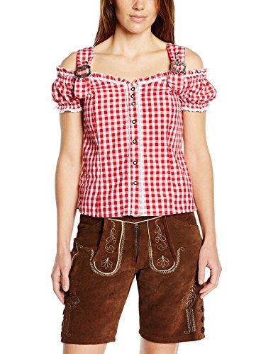 Fuchs Trachtenmoden Damen Trachten Bluse mit Carmenarm und Metall Schließe, Gr. 46 (Herstellergröße: XXL), Rot