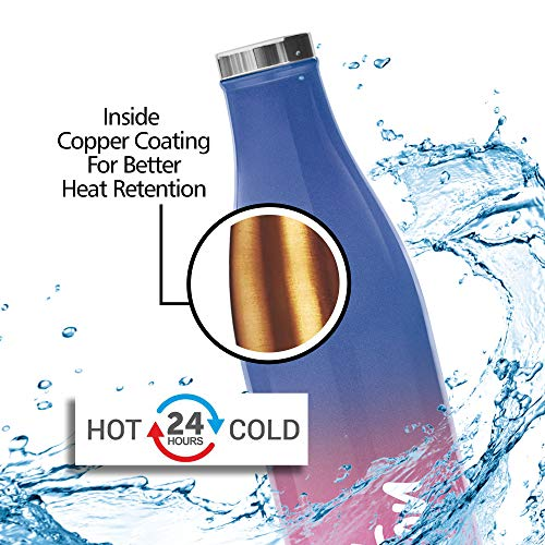 Milton Prudent 500 Thermosteel 24 Hours Hot and Cold Water Bottle, 510 ml, Pink Blue