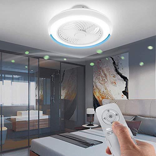 DULG Ventilador de techo moderno LED inteligente con candelabro de luz Control remoto Silencio Ajustable 3 velocidades de viento 40W Lámpara de ventilador de luz de techo regulable para dormitorio Sal