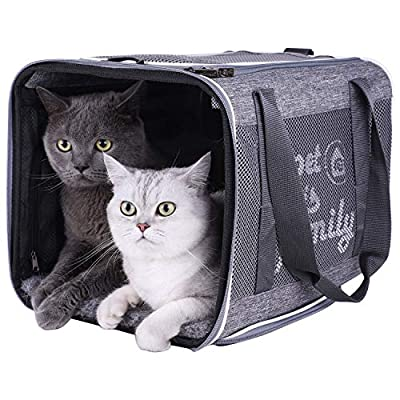 petisfam Top Load Cat Carrier with Privacy Zippered Flaps for Large, Medium Cats, 2 Kitties and Sensitive Cats