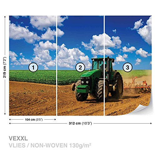 FORWALL DekoShop Vlies Fototapete Tapete Vliestapete Grüner Traktor auf dem Feld AD1909VEXXL (312cm x 219cm) Photo Wallpaper Mural