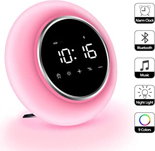 KZY Wake Up Light Alarm Clocks, Bluetooth Speakers, Kids Sleep Aid Snooze Function 9 Colors Night Light for Bedrooms, Music Player Creative Gift for Christmas,Party