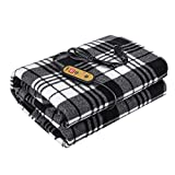 Tvird Heated Car Blanket, Electric Car Blanket 12V 24V with Adjustable Temperature Controller Heated Car Seat Blanket 12V Car Heated Blanket for Winter, Fit for Car, Truck or RV Black and White