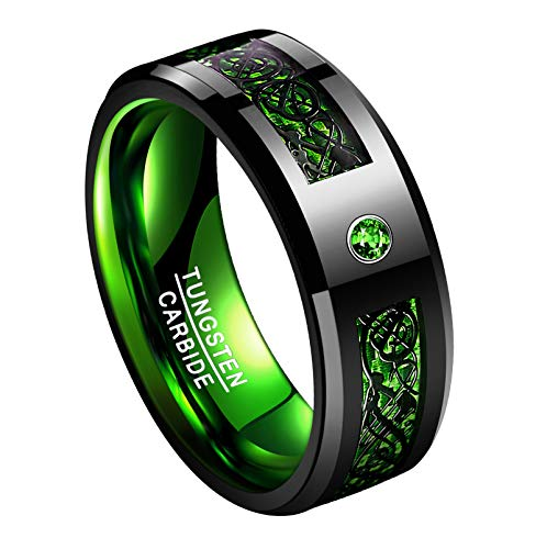 TUNGSTORY Unisex 8mm Black Celtic Dragon Wedding Band Green Carbon Fiber Inlay Tungsten Carbide Promise Ring Size 9.5
