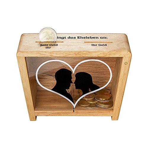 Casa Vivente Spardose für Ehe-Paare mit Herz-Aufdruck, Sparbüchse aus Holz zur Hochzeit, Verpackung für Geldgeschenke