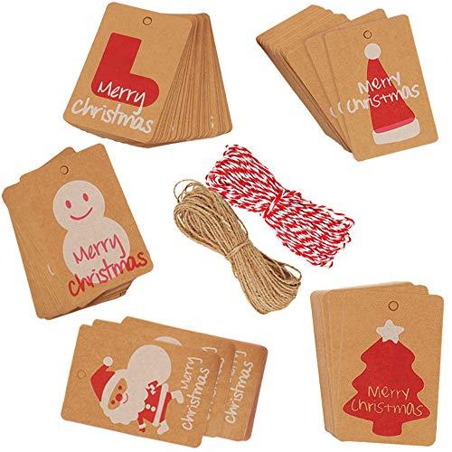 200 etichette per regali di Natale in carta kraft con 40 m di filo di spago 5 disegni per Natale, feste, matrimoni, vacanze, accessori per feste