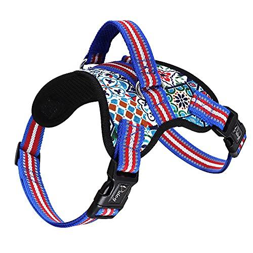 HDDFG Arnés de perro grande con estampado reflectante Chaleco de nailon duradero para mascotas Chaleco de Pitbull ajustable sin tirón para perros medianos grandes (Color : D, Size : XL code)