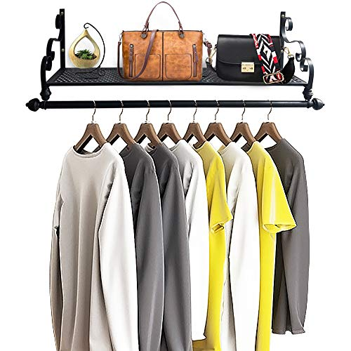 Nicheo Storage Wrought Iron Coat Rack Shelf Wall Mounted Hanging Closet with Clothing Rods Garment Hanger for Daily Clothes Hat Bag and More Ideal Organizer for House 394 Black