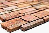 Rossoverona - Mosaico a mosaico, a tinta unita, in marmo naturale, da cucina, formato: 25-105 x 15 x 8 mm, dimensioni foglio: 305 x 305 mm, 1 foglio