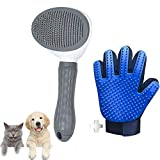 Guante + Cepillo para Perros y Gatos, Peine y Autolimpieza para Animales Domésticos, Eliminar Excesos y Muertos Pelo Animal.