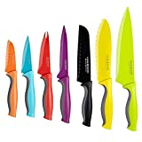 Cook N Home 14-Piece Coated Carbon Stainless Steel Knife Set with Sheaths, Multicolor