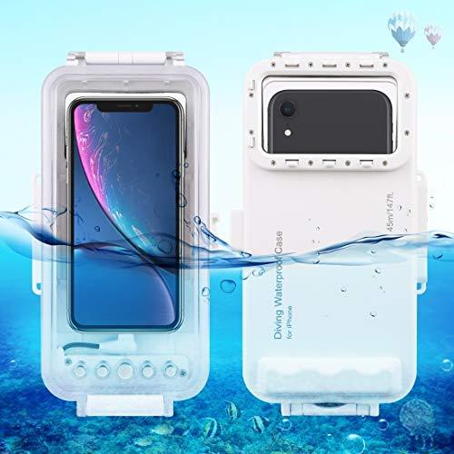 Funda de piel 45m impermeable del salto de Vivienda Foto Video Submarino Tomando la cubierta del caso for el iPhone 11, X iPhone, el iPhone de 8 y 7, 6s iPhone, IOS 13.0 o iPhone Versión encima