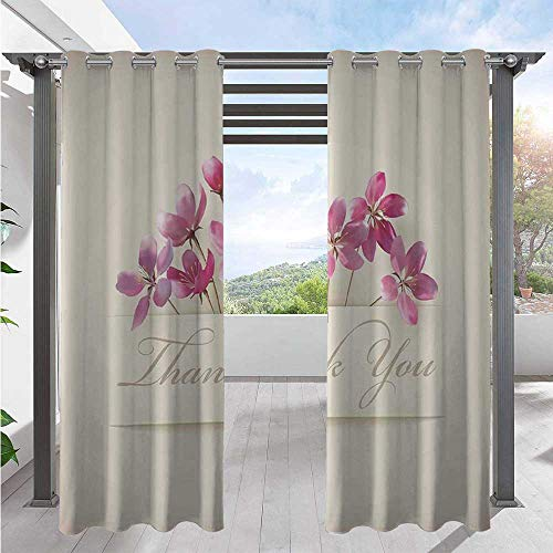Adorise Print Curtains Spring Flowers Floral Thank You for Anniversary and Teachers Print Fashion Design Outdoor Curtain Drape for Porch, Pergola, Cabana, Gazebo Ivory Pale Pink W72 x L84 Inch