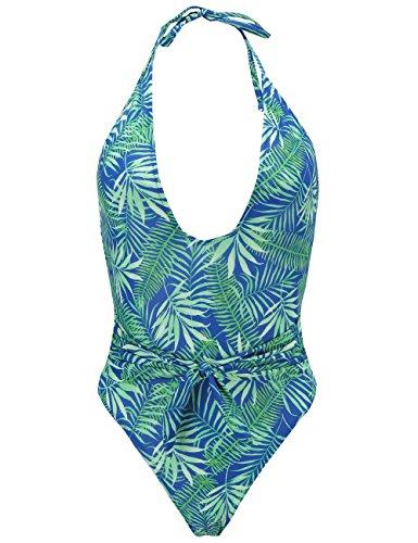 SSLR Women's Halter Floral Print Bathing Suit Deep V Neck One Piece Swimsuit (Medium, Sapphire Blue)