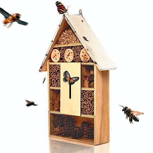 bambuswald© Insektenhotel 55,5X 30cm (fertig montiert) - großes Insektenhaus für den Garten | Bienenhotel Unterschlupf Nistkasten für Bienen Marienkäfer Schmetterlinge Fliegen