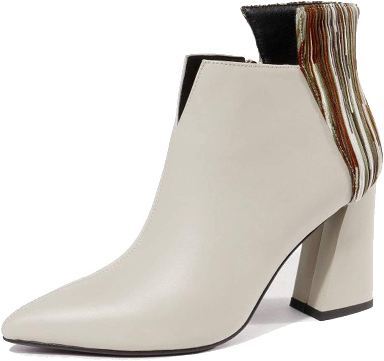 Women's Pointed High Heels Chelsea Booties Warm Martin Boots Black Beige