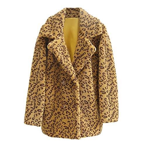 mounter- Damen Winter-Parkas/Mantel mit Leopardenmuster, Kunstfell, Strickjacke, Knopfleiste, Vintage-Stil, Übergröße, Gelb - gelb - Größe: Small