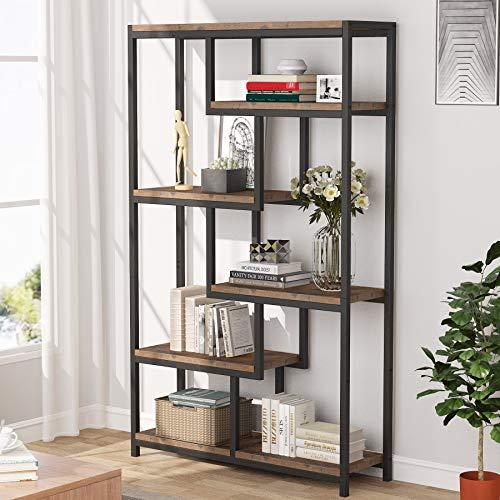 Tribesigns Librería Estantería, Librería de Madera 5 Niveles, para Salón, Oficina, 100x30x165cm (Marrón Rústico)