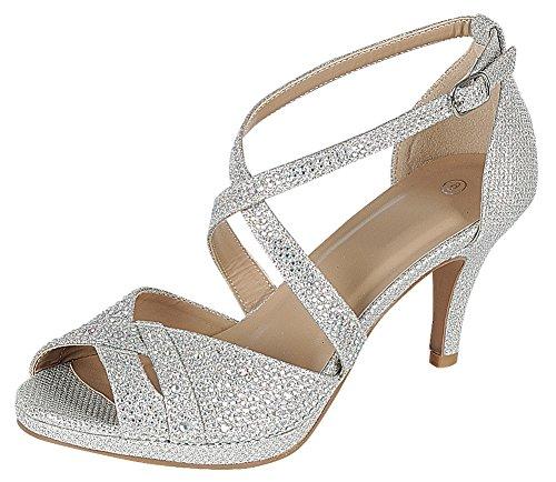Cambridge Select Women's Peep Toe Crisscross Ankle Strappy Glitter Crystal Rhinestone Mid Heel Sandal (6 B(M) US, Silver)