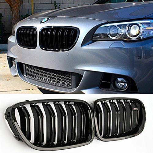 Zealhot Black Front Kidney Grille Grill for 2010-2017 BMW 5 Series F10 F11 F18 M5(Double Line,Gloss Black)