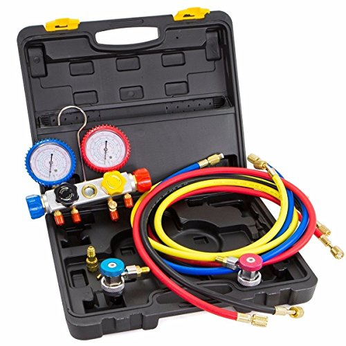 Thegood88 4 Way Manifold Vacuum Gauge Hose Set R410 R22 R134a Refrigeration AC HVAC KIT