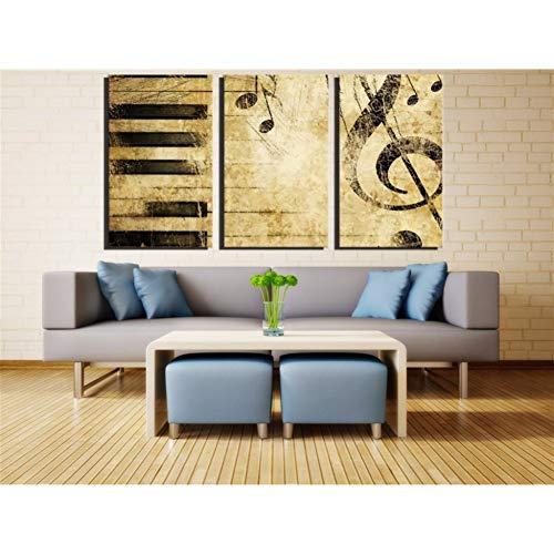 WLEZY HD-print canvas schilderij modern 3 stuks noten en piano muurkunst schilderijen afdrukken op canvas muziek wandschilderij voor slaapkamer huis decoratie