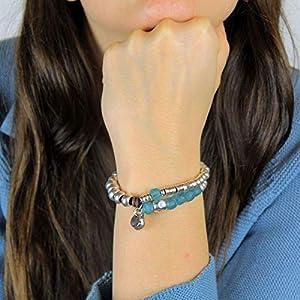 Afrikanisches Armband aus recyceltem Glas, Leder und plattierte Perlen, handgefertigt von Intendenciajewels…