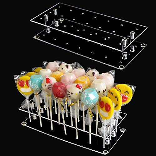 Cake Pop Holder, 2-Pack 21 Hole Clear Acrylic Cake Pop Stand Display for Weddings Baby Showers Birthday Parties Anniversaries Halloween Candy Decorative