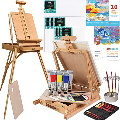 MEEDEN Deluxe Oil Painting Supplies with French Easel, 200ML/6.76 oz Oil Paint Set, Oil Paintbrushes, Stretched Canvases, Canvases Panels & Accessories for Adults, Beginner & Professional Artists