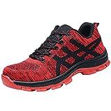 Tapa Acero Zapatos Zapatillas De Seguridad para Hombre Trabajo Industria Calzado Deportiva Antideslizante Rojo 41 EU