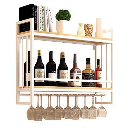 Alqn Weinregale Wandmontage Holz Metall | Hängender Weinglashalter | Weinregal mit Glashalter | Abgehängter Weinflaschenhalter | Weinregal aus Holz, weiß,120 cm × 20 cm