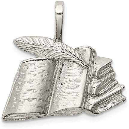 925 Sterling Silver Books Quill Pendant Charm Necklace Graduation Fine Jewelry For Women Gifts product image