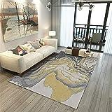 RUGMYW Alto Rendimiento Alfombra Outlet Elementos Abstractos Gris Amarillo Beige alfombras de Juegos para niños 45X75cm