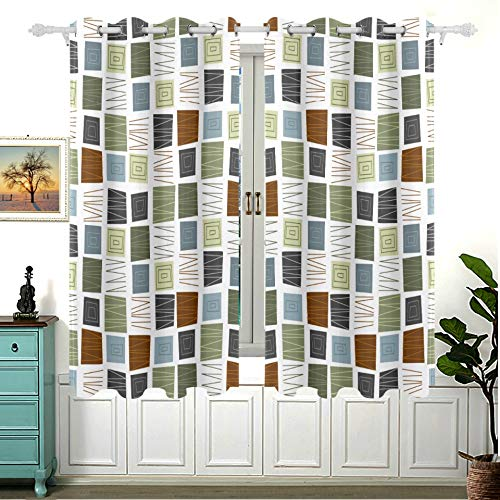 Tagours 2 Panels Fantasy Window Curtains Mid Century Modern Design Cabin Bedroom Blackout Curtain 63x55 Inch(160x140cm) Insulated Grommet Blackout for Bedroom and Sliding Glass Door