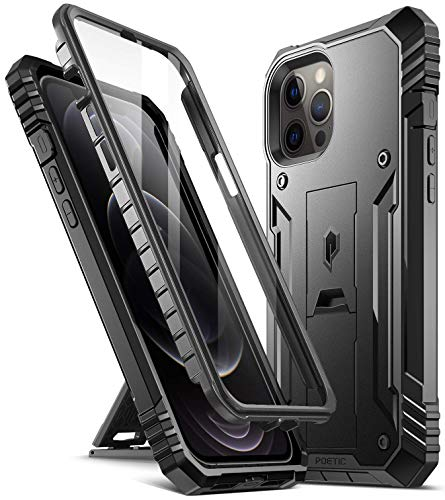 Poetic Revolution Series for iPhone 12 Pro Max 6.7 inch Case, Full-Body Rugged Dual-Layer Shockproof Protective Cover with Kickstand and Built-in-Screen Protector, Black