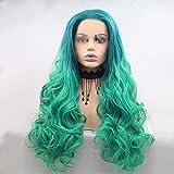 Sebasty Peluca de pelo largo rizado teñido para mujer Europa y América en el medio de la peluca de fibra química conjunto de pelo - encaje - verde - pelo rizado - pelo largo