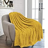 RayyanLinen Überwurf mit Waffelkamm & Wabenmuster, sehr weich, luxuriös, vielseitig einsetzbar, für Sofa, Tagesdecke, Reise, Überwurf (Ockergelb, Einzelbett: 125 x 150 cm)