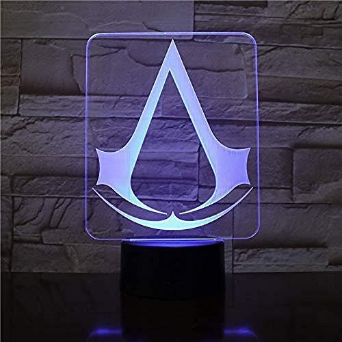 3D Light Night Lamp-Assassins Creed Game Logo Nightlight Gift para niños Decoración de dormitorio Cambio de color Sala de estudio 3D Led Night Light Lamp