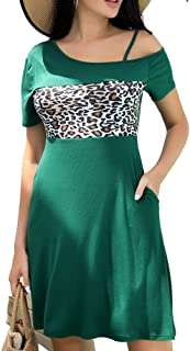 Women's Loose One Shoulder Dresses with Pockets Patchwork...