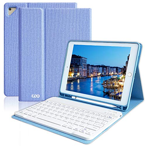 iPad Keyboard Case 6th Gen for 9.7 iPad Pro 2018/2017 (5th Gen), iPad Air 2/Air, Wireless Bluetooth Detachable Protective Cover with Pencil Holder, Smart Auto Sleep-Wake (Sky Blue)