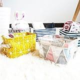 Aufbewahrungskorb, Morbuy klein Baby Leinen Lagerung Organizer Stoff Aufbewahrungskorb mit 2 Griffen auf beiden Seiten 20 x 15 x 13 cm Lifewit Stoff Organizer Korb Stoffbox Spielkiste für Kleidung Büc (ein Stück graue Streifen) - 4